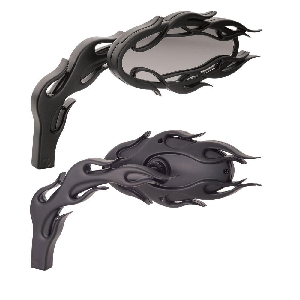 Arlen Ness Flamed Micro- Mirror - Left - Black - 13-087